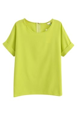 Yellow Charming Ladies Plain Crew Neck Short Sleeve T-shirt