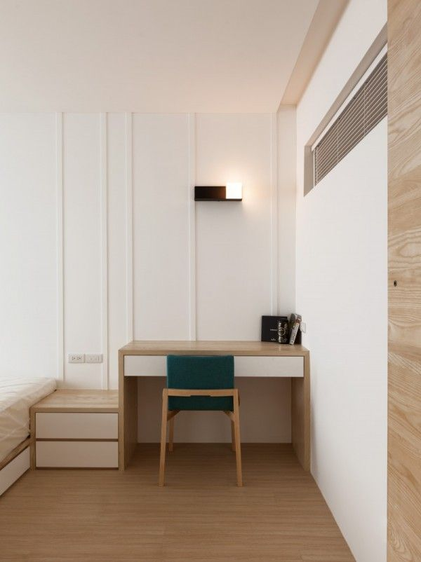 Modern Apartment Design Maximizes E Minimizes Distraction Study Table Bed And Side