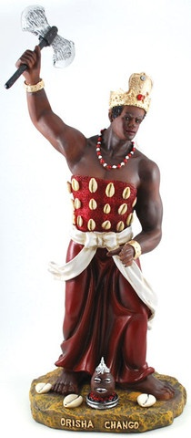 One of the most celebrated of the Orisha, Chango (or Shango), is revered as the Sky Father; a spirit and god of thunder and lightning. As such, he is often viewed as the chief spirit and power within Santeria, and many other faiths with a Yoruba background. Having culture and ceremony that is perhaps the most intact from the middle passage, Chango is also viewed as a symbol of African resistance against an enslaving European culture. Before he was deified, he was actually the third kin…