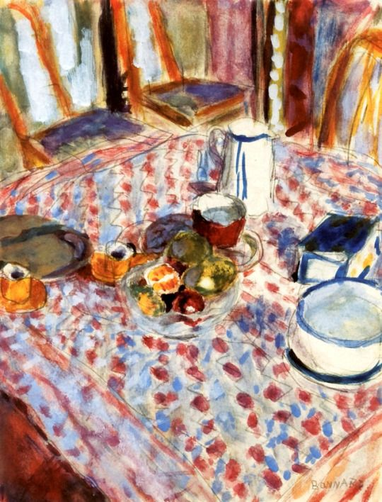 Still LIfe on a Red Checkered Tablecloth  -  Pierre Bonnard - 1930-35    French,1867-1947