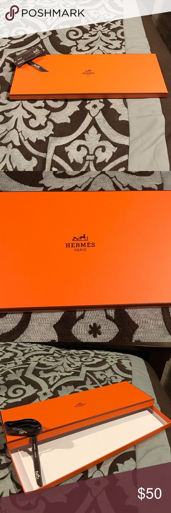 Hermes tie box with shopping bag and ribbon. Hermes iconic orange tie box with ribbon and  shopping bag. Pristine condition Hermes Other