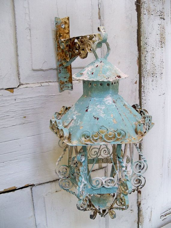 Shabby chic scroll work metal lantern candle by AnitaSperoDesign