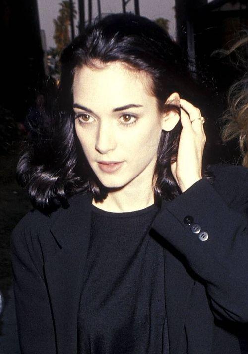 Winona Ryder, solid black t-shirt under black blazer