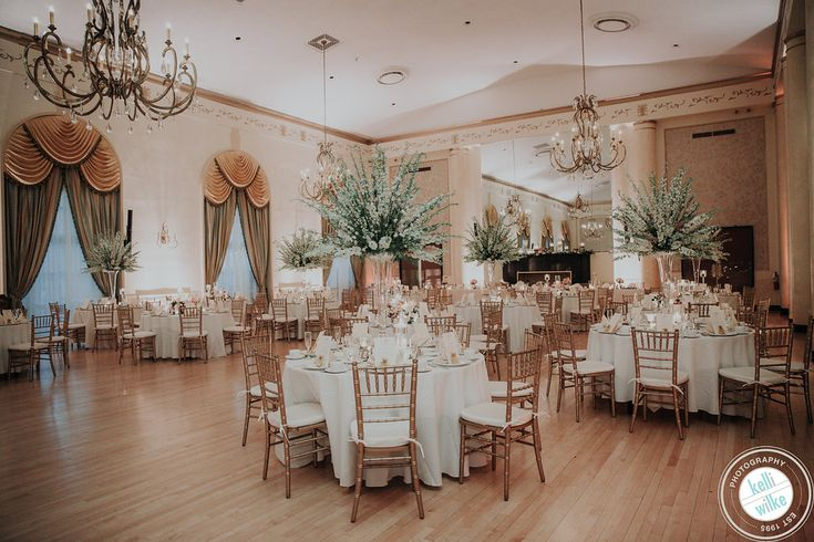 Old world elegance in the ballroom for Ashley and Patrick at DuPont Country Club. Kellie Wilke Photography