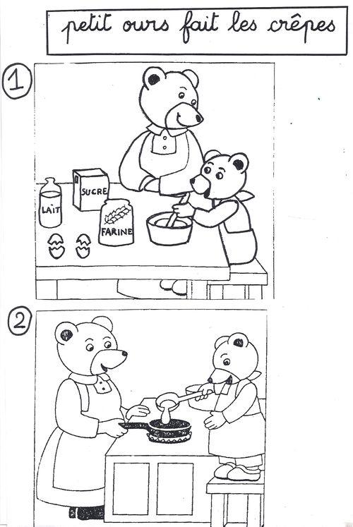 """Images séquentielles """"Petit Ours Brun prépare des crêpes avec sa maman"""" (4 images)"""