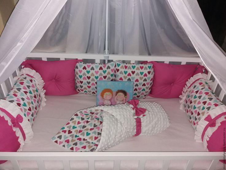 Купить Бортики подушечки в детскую кроватку - комбинированный, бортики в детскую кровать, бортики подушки, бортики