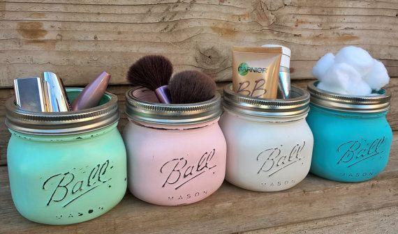 Country Bathroom Organizer, Rustic Vanity Organizer, Beach Bathroom, Vanity Decor, Gift for Her, Makeup Organizer, Mason Jar Organizer, Ball