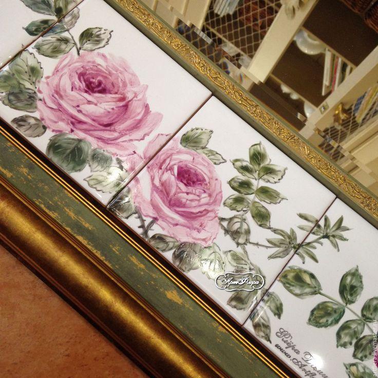 Купить Роспись керамики Роспись плитки Зеркало Розы - зеркало, зеркало в ванную, зеркало настенное