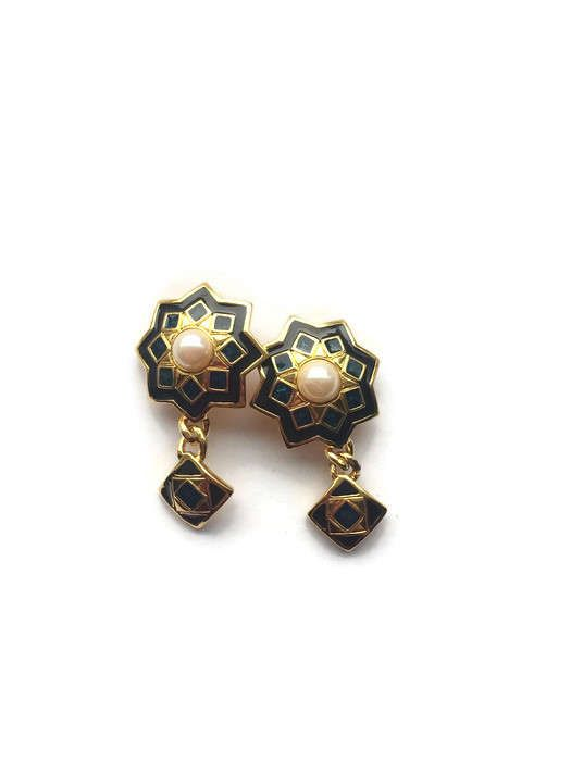 Earrings, Dangle Earrings, Vintage, Gold Tone, With Black, And Blue, Enamel, And Faux Pearl, Polygon Shape, Square Shape,Good For Gift,Pearl by VintageSabVer on Etsy