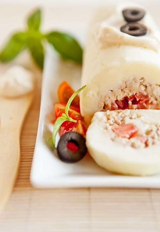 Receta 215: Brazo de gitano de puré de patatas, atún y mayonesa » 1080 Fotos de cocina