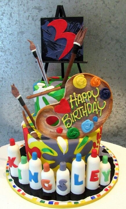 Artist Cake - complete with Palette and Paints!  loved by www.orangedoveevents.com
