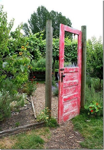 Reusing an old door as a Garden Gate. This could work as well. Interesting idea.