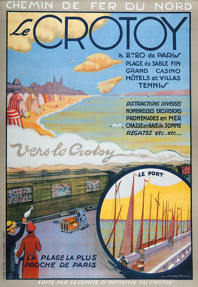 Vintage Railway Travel Poster - Le Crotoy - France.