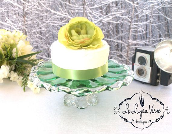 Rare 1970s Vintage Hand Blown Green Cake Stand, Wedding Cake Cupcakes Petit Fours