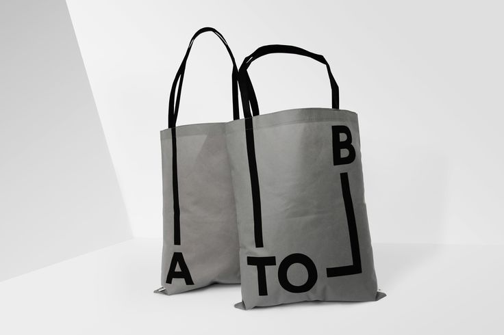 Brand identity and branded tote bags for Scandinavian retailer, bag and travel specialist A-TO-B by Stockholm Design Lab