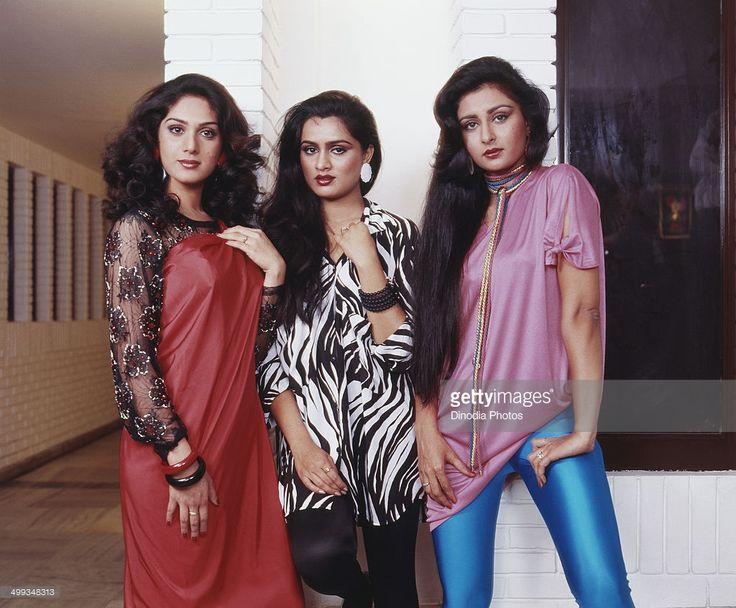 1986, Portrait of Indian film actress Padmini Kolhapuri, Poonam Dhillon and Meenakshi Sheshadri.