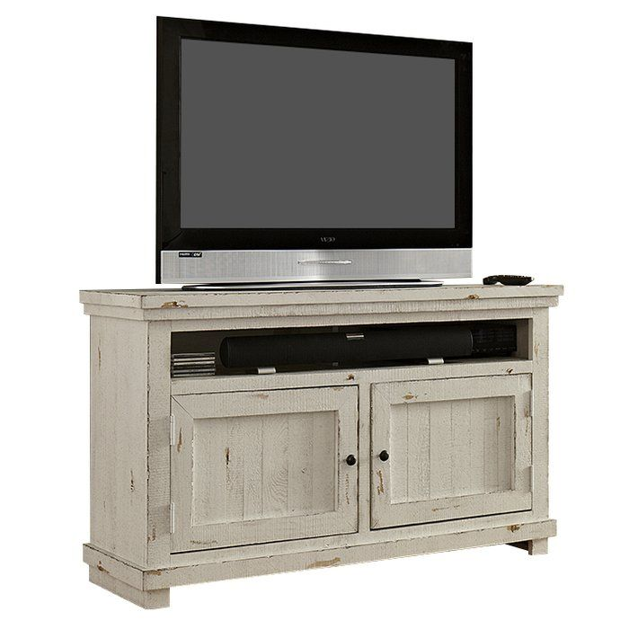 The Kendall TV Stand with a distressed finish is compact and chic. Its traditional design and texturing has a very strong allure. The stand has two high open shelves on the left and right edges just below the top, useful for storing CD/DVD players. There are two large cabinets, covering the whole breadth of the stand. It can store your movie and music collection, and still have plenty of space leftover. There are pre-drilled holes at the back of the shelves to provide much needed ventila...