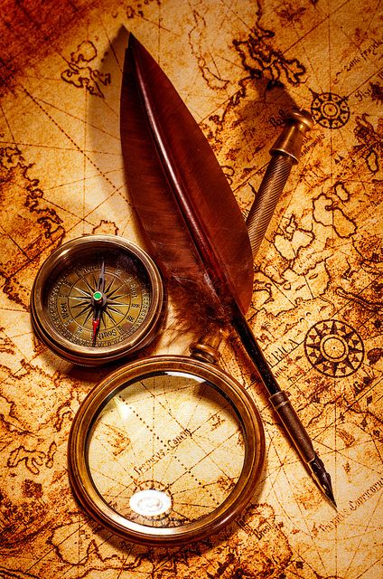 Nautical tools #compass #magnifyingglass #quillpen