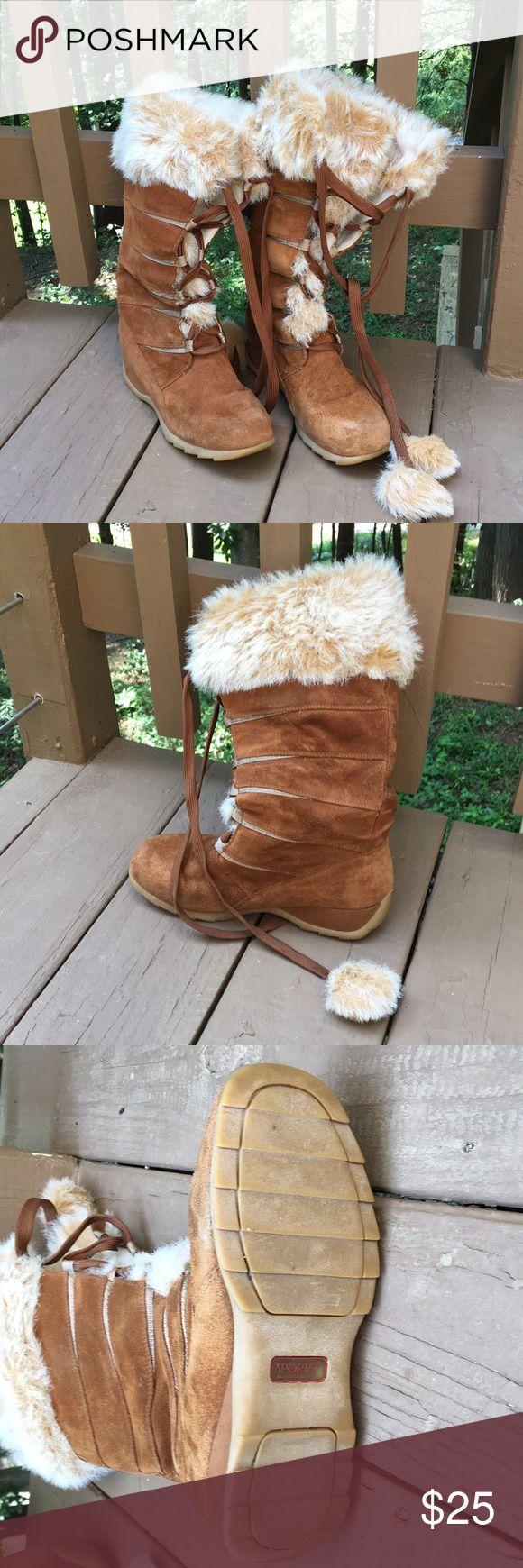 Sporto boots - waterproof Womens wedge-heeled Sporto winter boots.  Fleece-lined, waterproof.  Good used condition. Sporto Shoes Winter & Rain Boots