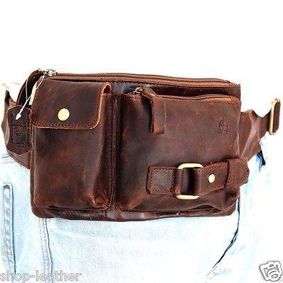 Genuine oil business retro Leather wallet Bag Pocket Waist Pouch Crossbody IL