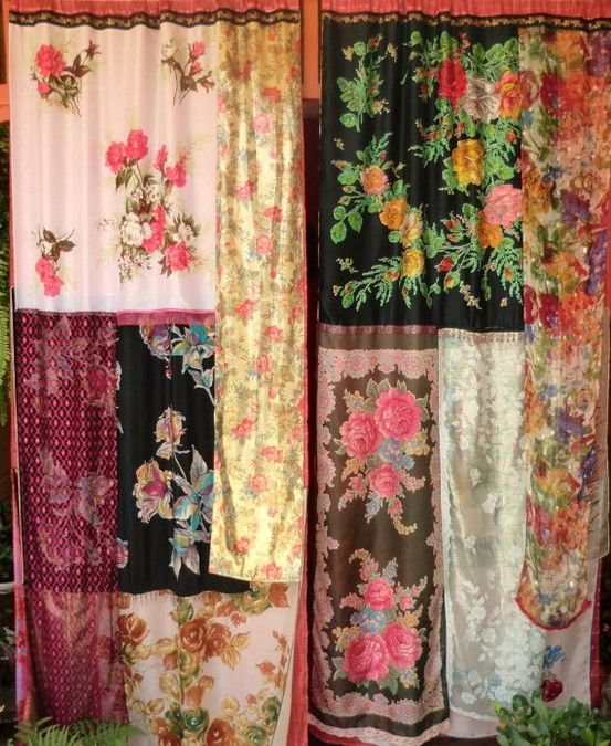 berengia:    LOST BOHEMIA Handmade Gypsy Curtains    it has a certain appeal, but it would only work with all those vintage Hermes scarves I don't have lying around my non-existent walk in closet complete with espresso machine and pretend house boy to operate said same.