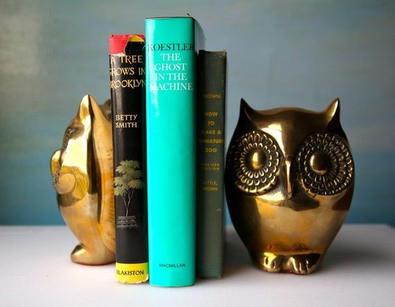 Brass Owl Bookends. Vintage Golden Lovelies by domestikate