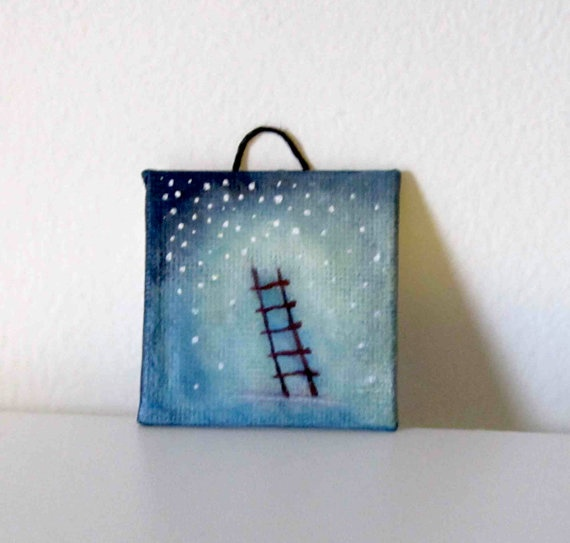 Red Ladder  Ornament / Original Painting / Ladder and by artofjane, $16.00