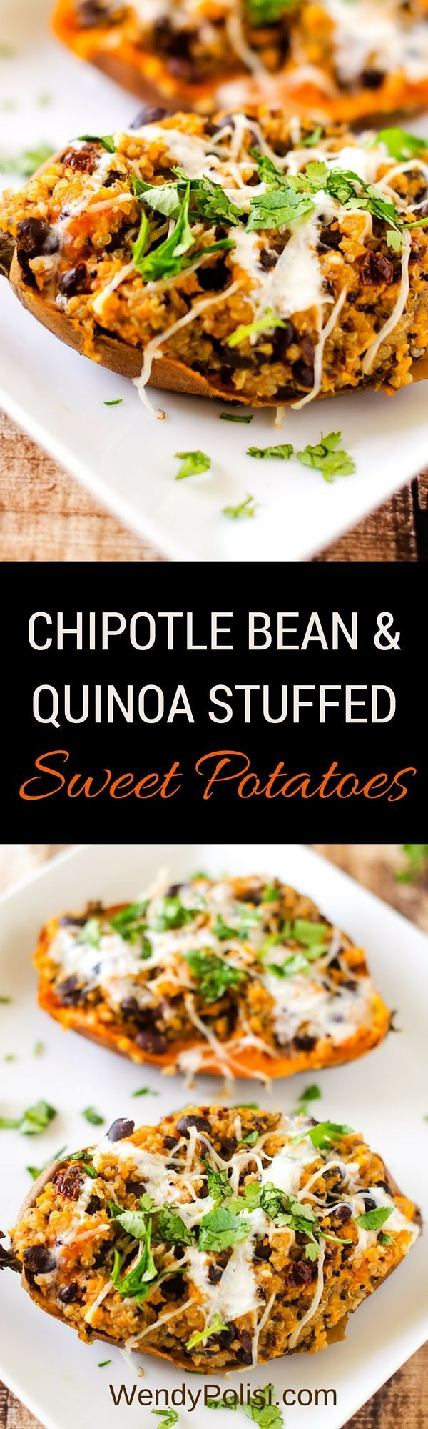 Chipotle Bean & Quinoa Stuffed Sweet Potatoes with Chipotle Lime Sauce