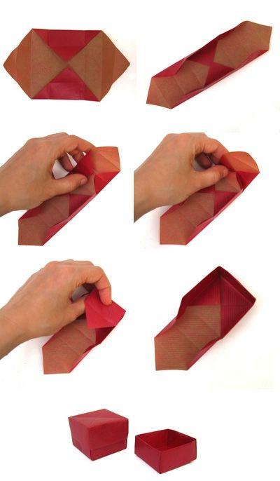Comment faire une boîte pour petit bijou avec du papier, en origami.