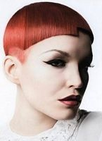 modern short hairstyle with red hair