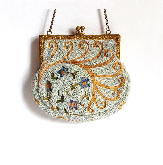 Antique French Metro Bag Works Beaded Evening Purse Handmade Edwardian Vintage Bags & Purses Accessories Bridal Fashion Gift for Her c1910