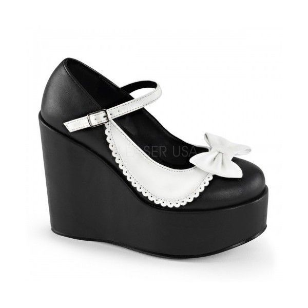 Black and White Collar Mary Jane Pump (79 CAD) ❤ liked on Polyvore featuring shoes, pumps, maryjane pumps, wedge heel pumps, mary jane pumps, wedge pumps and wedge prom shoes #promshoespumps