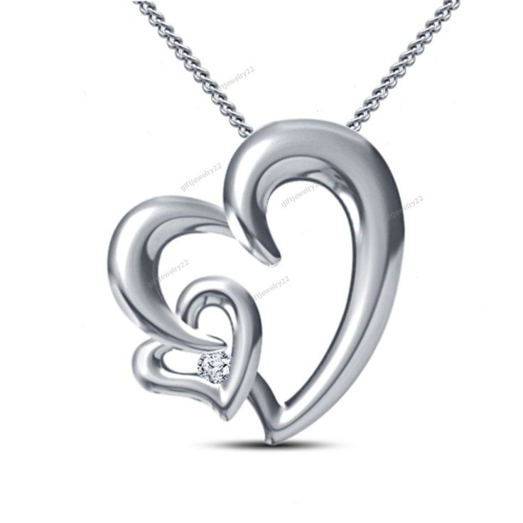 """Free Pouch"" Women's Fashion Round Cut D/VVS1 Diamond Double Heart Shape Pendant #giftjewelry22 #Pendant"