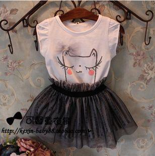 Ребенка и детские мультики напечатаны комплект одежды платья балетной пачки набор девочка детская одежда набор рубашка + юбка набор для высота 90 см-130 см