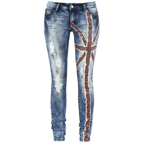 Dressation Womens Punk Style Blue Ripped Distressed Skinny Jeans Pants ($40) ❤ liked on Polyvore featuring jeans, denim skinny jeans, distressed jeans, wide-leg jeans, destroyed jeans and ripped jeans