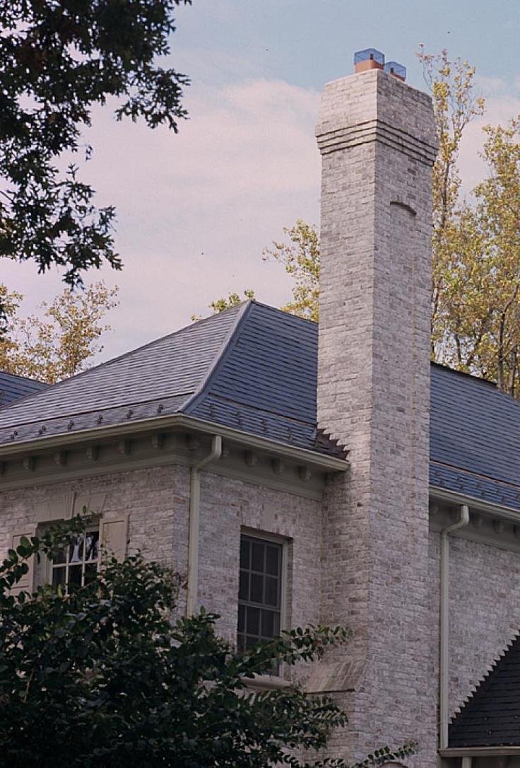 White Brick House Gray Trim