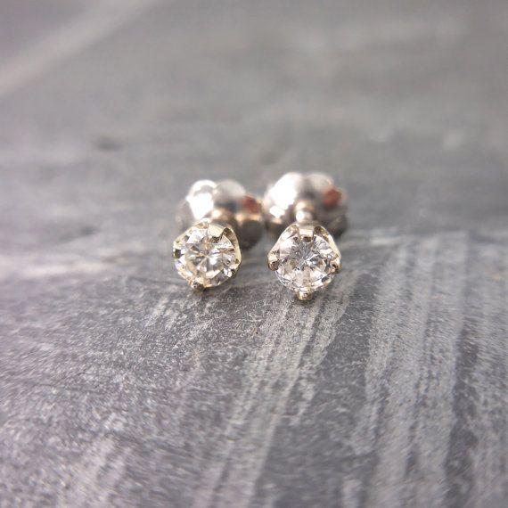 Diamond Screw Backs Earrings Studs 14kt White Gold by JewelLUXE