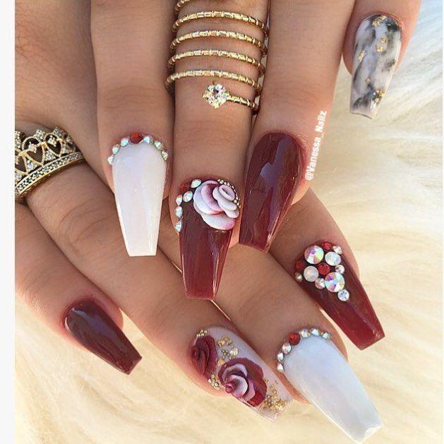 Pretty dark red coffin nails, nail art ideas with rhinestones | decorado de unas