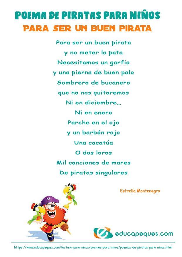 Poemas de piratas para niños: Para ser un buen pirata | Poemas ...