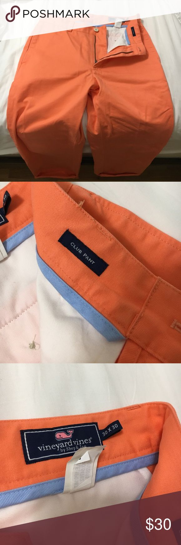 Vineyard Vines Men's Pant 30x30 For sale is a pair of Vineyard Vines men's pants, size 30x30. They are vibrant orange; they were worn once, and without any imperfections. Vineyard Vines Pants Chinos & Khakis