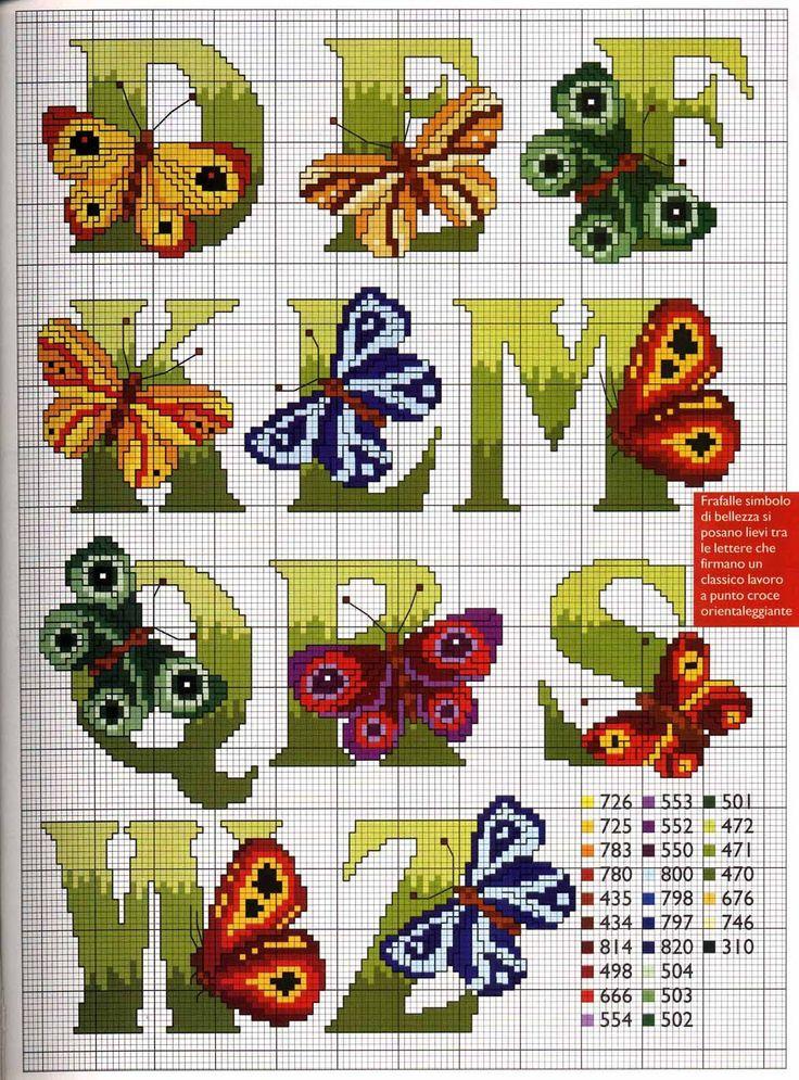 Arte by Cachopa - Ponto Cruz I: Monogramas com borboletas
