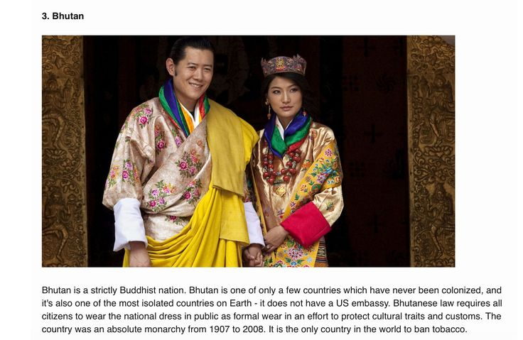7 Most Conservative Countries in the World Bhutan, Royal