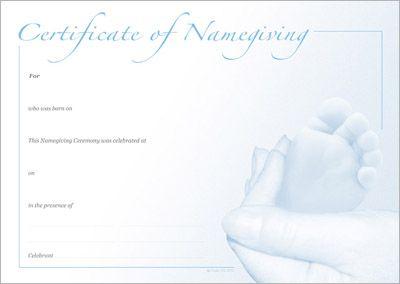 Naming Certificate - Blue Foot design.