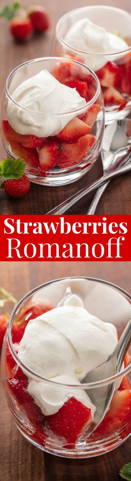 Strawberries Romanoff is a no-bake, easy and luscious summer dessert. It is the adult version of Strawberries and Cream (one of my favorite recipes since childhood). This dessert feels and tastes fanc