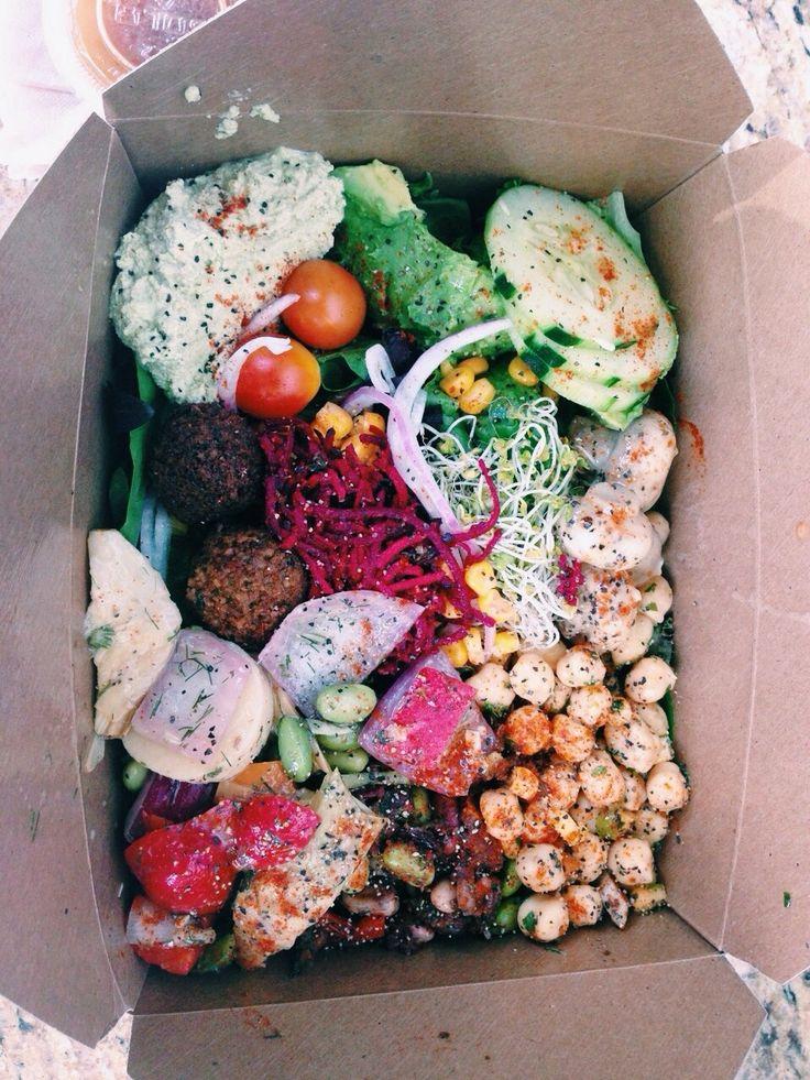 falafel, chickpea, cucumber, carrot, hummus, dressing, mixed beans