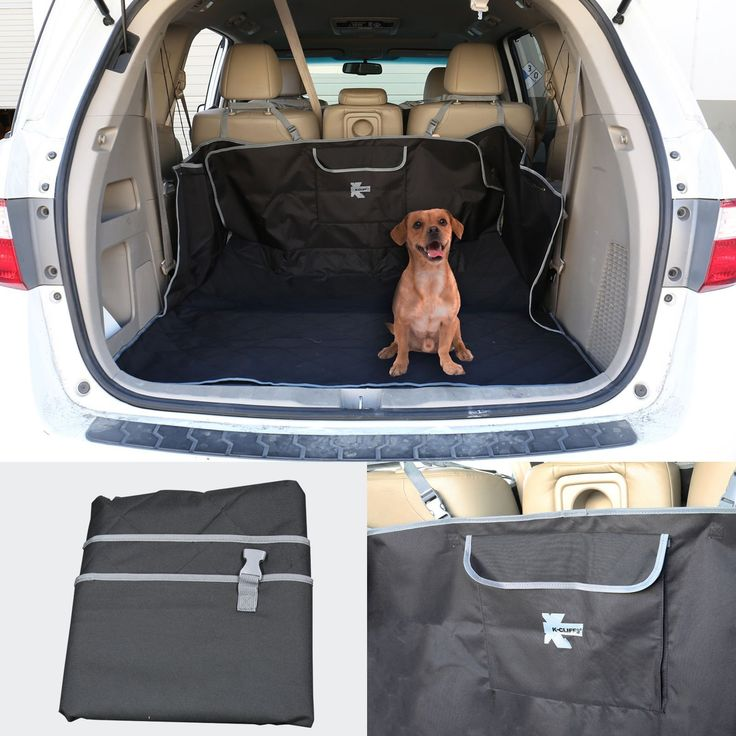 Quilted Cargo Cover For Pet Waterproof Seat Protector for Dog Cat Heavy Duty Trunk Cover Durable Liner Bed Floor Mat Fits Most Cars SUV Vans & Trucks with Pockets Black