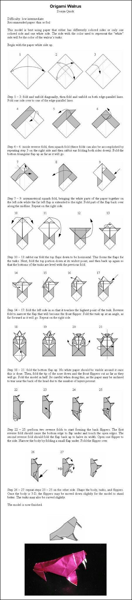 11 best origami images on pinterest origami animals bricolage origami walrus instructions by donyaquick on deviantart jeuxipadfo Choice Image