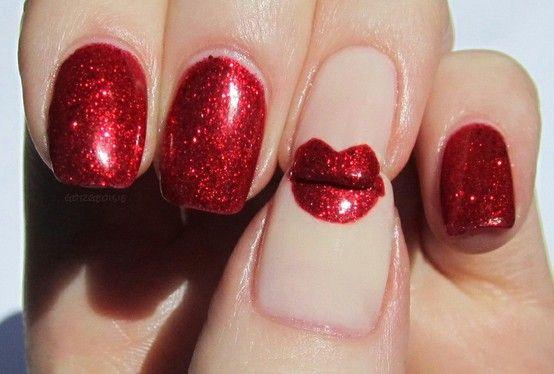 <3 kiss nail !: Nails Art, Nailart, Valentine Day, Nails Design, A Kisses, Red Nails, Red Lips, Valentine Nails, Redlips