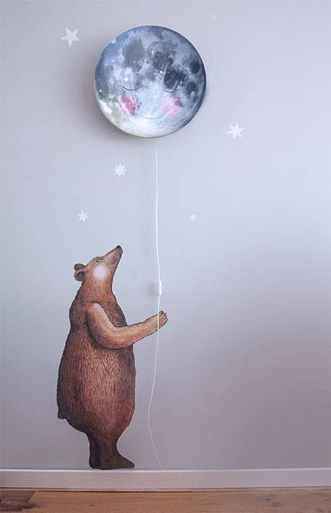 Our Bear wall sticker stays awake when you fall asleep at night....he will guard you!  High up in the sky the moon shines..can you see her smile?