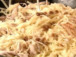 Tagliatelle with Chicken : try with store bought chicken and chicken broth (what are sultanas?)